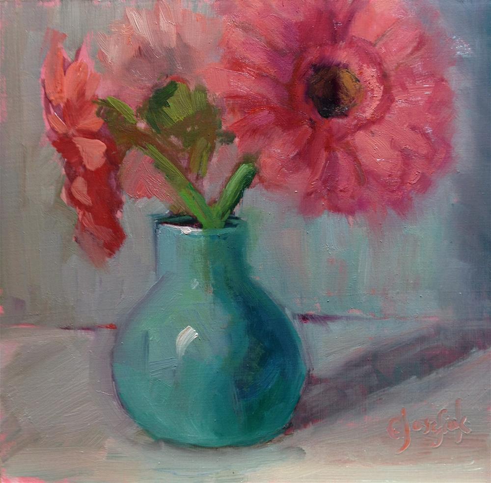 """Pink Gerbers"" original fine art by Carol Josefiak"