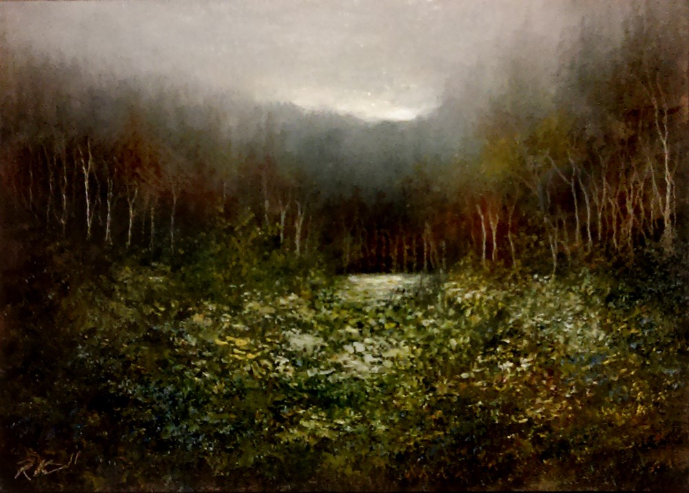 """Distant Pond"" original fine art by Bob Kimball"