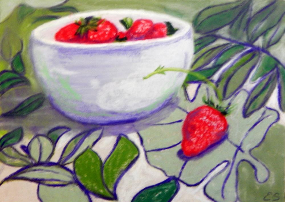 """Strawberries in a Bowl"" original fine art by Elaine Shortall"