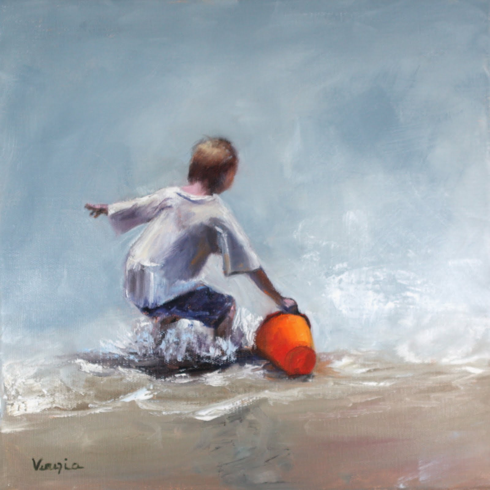 """""""young boy filling beach bucket with water"""" original fine art by Carrie Venezia"""