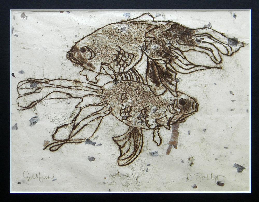 """Goldfish Swimming Pair"" original fine art by De Selby"