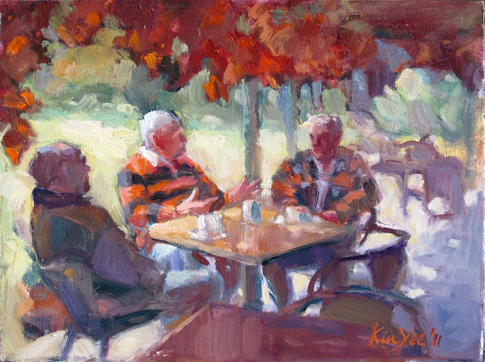 """Cafe syndicate"" original fine art by Myriam Kin-Yee"