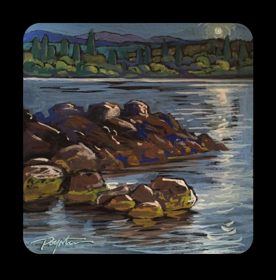 """3.20 Rock Bay lights"" original fine art by Jan Poynter"