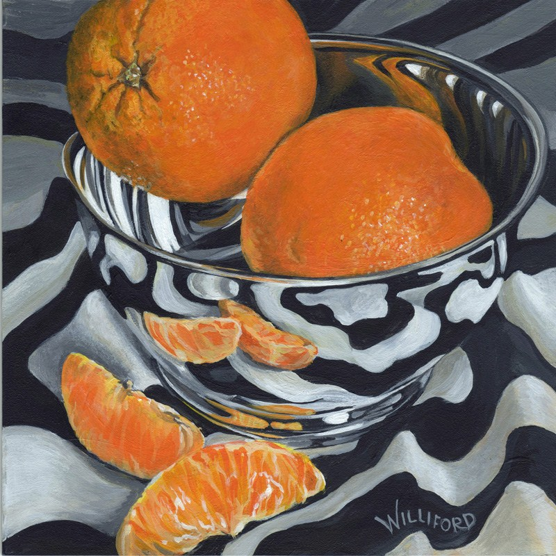 """Shiny Bowl with Oranges"" original fine art by Kathleen Williford"