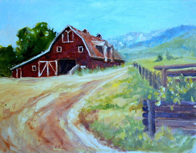 """Barn at the flying H"" original fine art by Dorothy Redland"