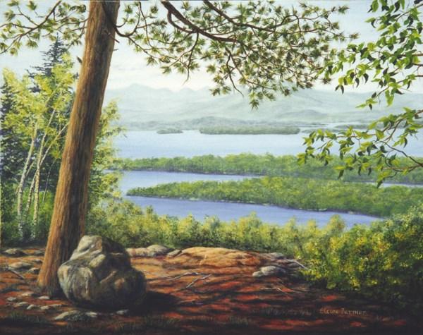 """Lake Winnipesaukee from Mt. Major"" original fine art by Elaine Farmer"