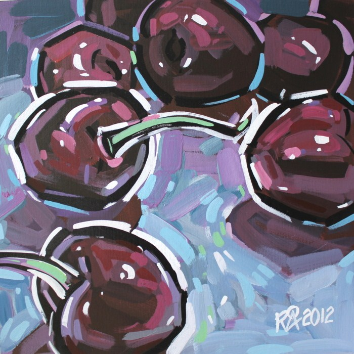 """Dark cherries abstraction 1"" original fine art by Roger Akesson"