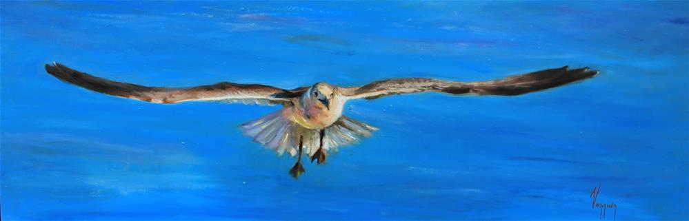 """A landing seagull"" original fine art by Marco Vazquez"