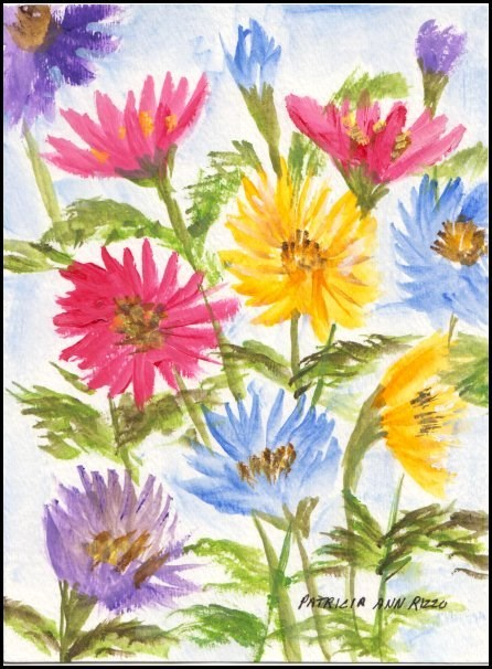 """Colored Daisies"" original fine art by Patricia Ann Rizzo"