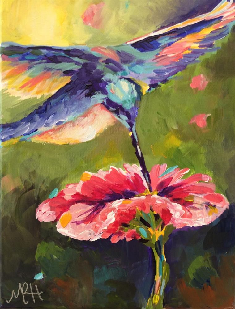 """Hummingbird Sunrise #2"" original fine art by Molly Rohrscheib Hathaway"