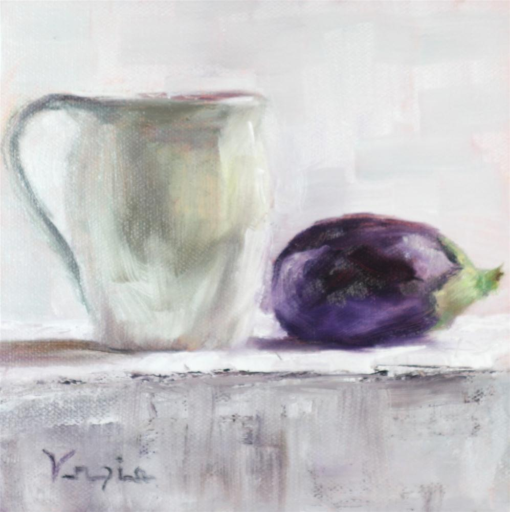 still life with eggplant and cup original fine art by Carrie Venezia