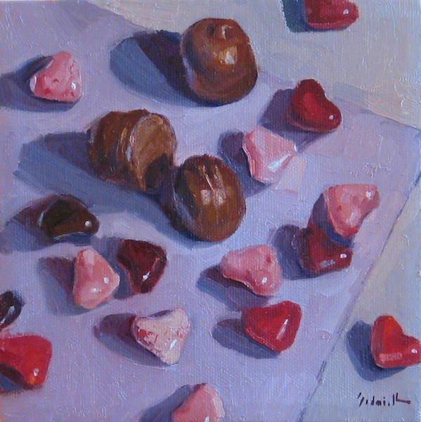 """Cherry Hearts a still life oil painting of valentines day candy hearts and chocolates"" original fine art by Sarah Sedwick"