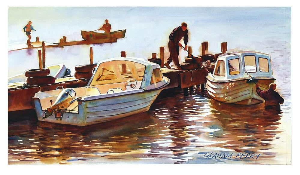 """Two men and two boats."" original fine art by Graham Berry"