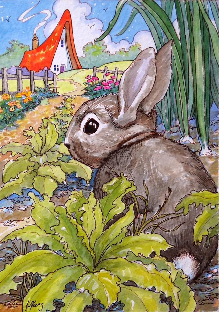 """""""Always Plan for Company Storybook Cottage Series"""" original fine art by Alida Akers"""