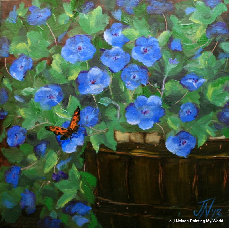 """Blue Geraniums and Butterfly"" original fine art by Jean Nelson"