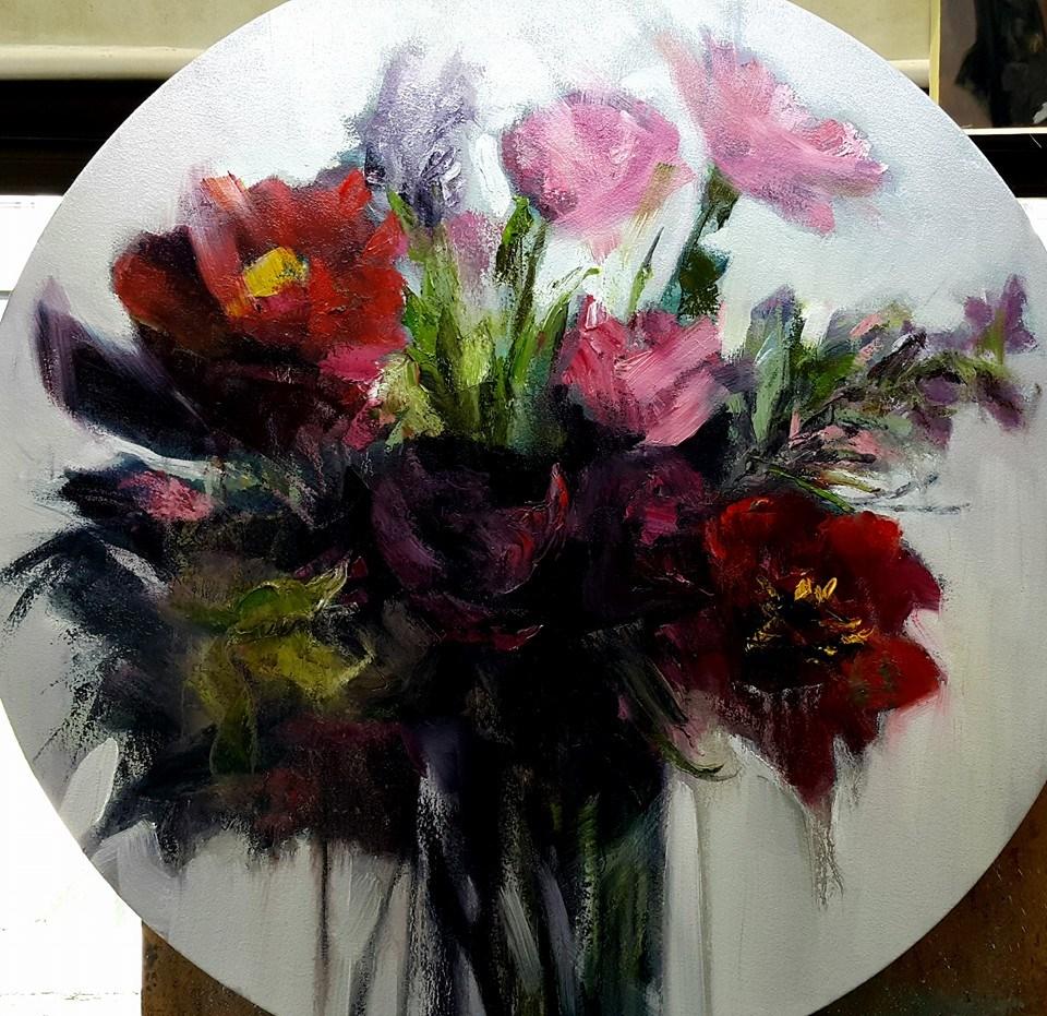 """""""Flowers make the world go round"""" original fine art by Rentia Coetzee"""