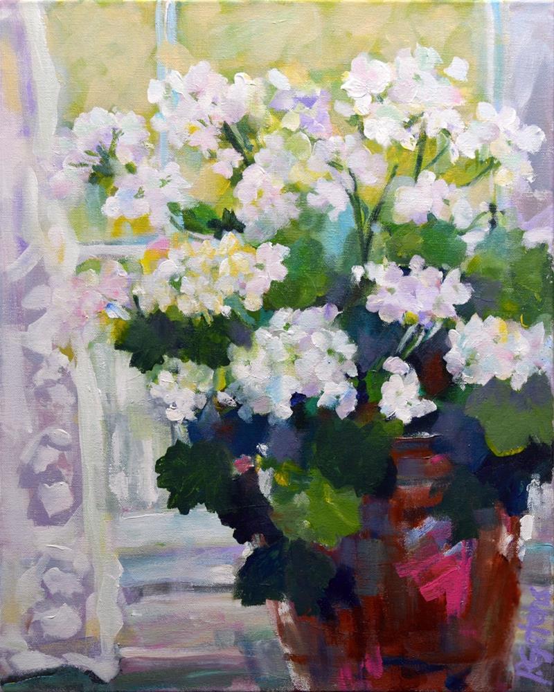 """""""Snow White Geraniums"""" original fine art by Pamela Gatens"""