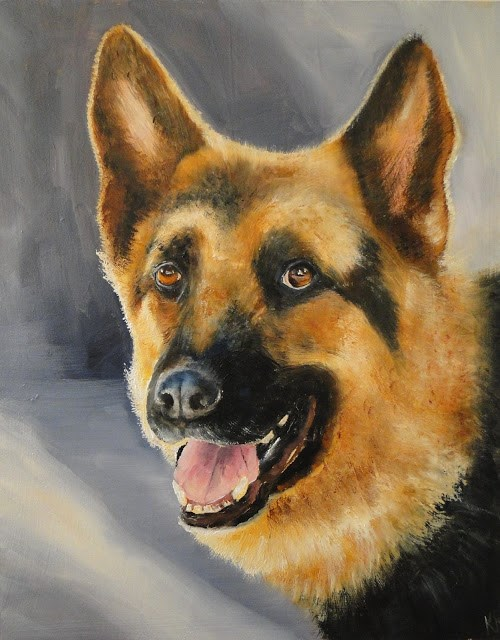 """Portrait of a German Shepherd"" original fine art by Karen Robinson"