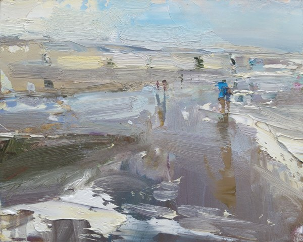 """Seascape Pleinair Bright Shoreline"" original fine art by Roos Schuring"