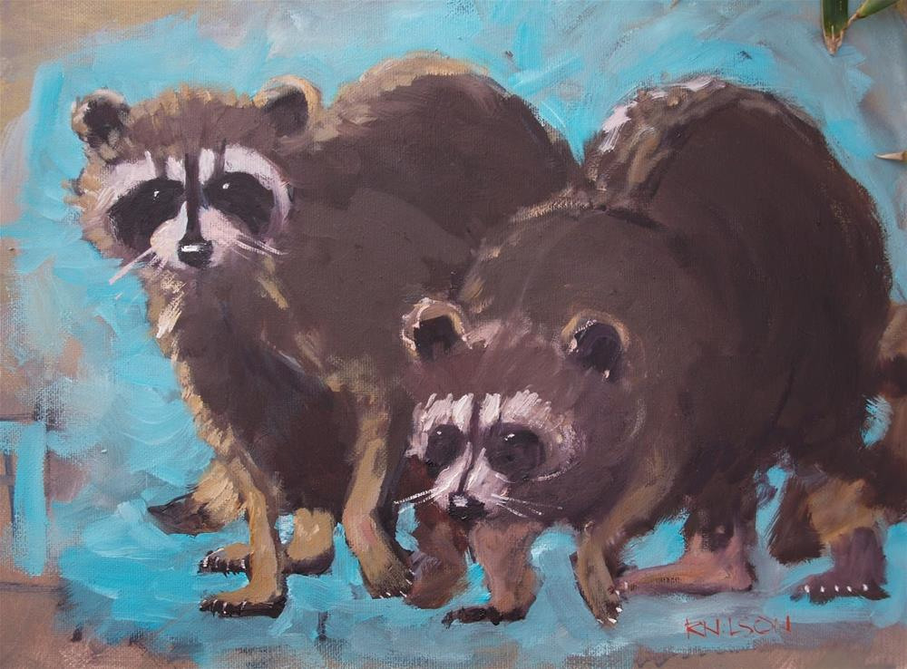 """Coons in Blue"" original fine art by Rick Nilson"