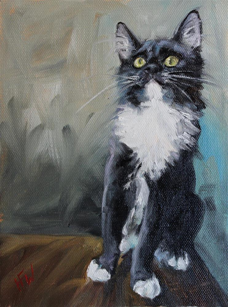"""Tuxedo"" original fine art by H.F. Wallen"