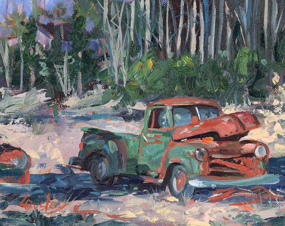 """Rusty (vintage, classic old truck painting)"" original fine art by Chris Ousley"