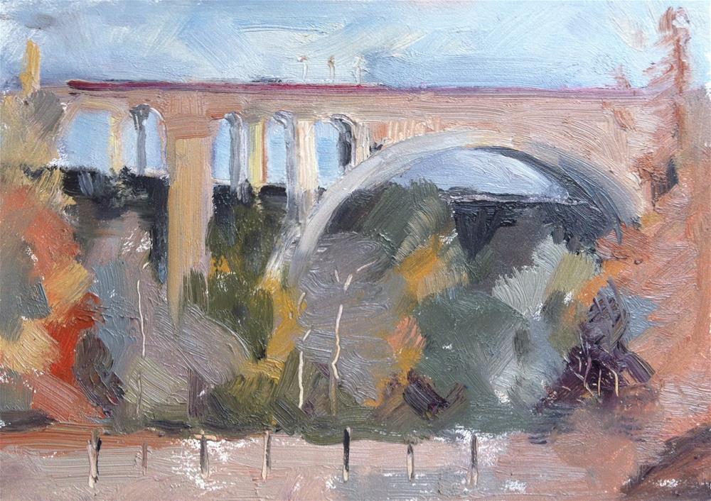 """Colorado Bridge, Arroyo Seco, Pasadena - Overcast and Cool"" original fine art by Karla Bartholomew"