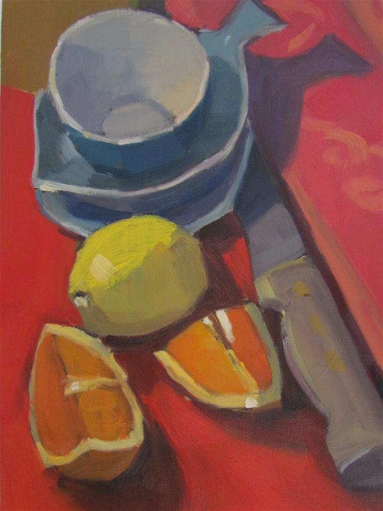 """""""couteau et nappe rouge"""" original fine art by gilles Poulizac"""
