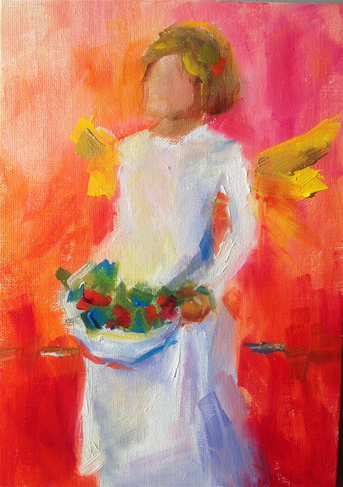 """Christmas Angel Reds"" original fine art by Sue Churchgrant"
