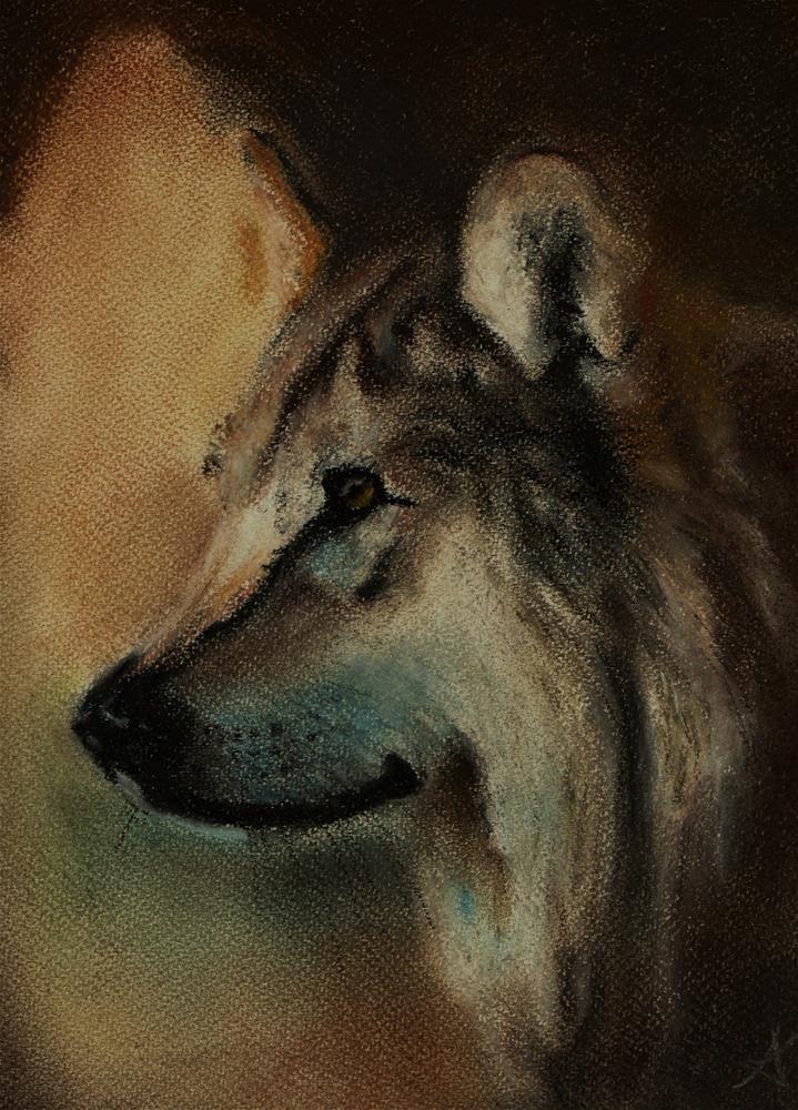 """Wolf"" original fine art by Konstantia Karletsa"