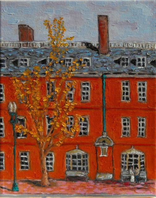 """Straus Hall - Harvard"" original fine art by William Cook"