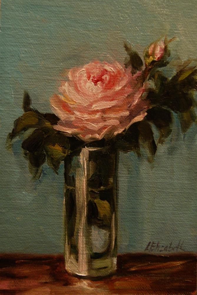 """""""Pink Rose in Glass Vase,  Oil on 4x6 Linen Panel"""" original fine art by Carolina Elizabeth"""