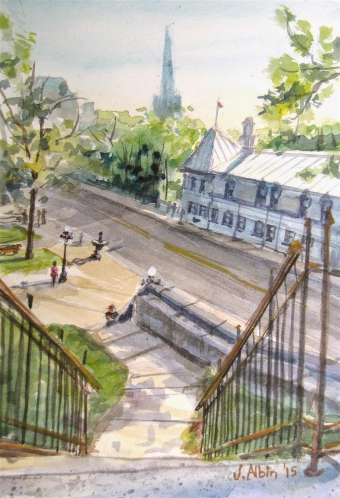 """Atop Quebec City  Gate"" original fine art by Jane Albin"