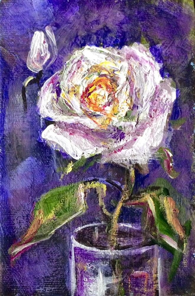 """White rose painting"" original fine art by Sonia von Walter"