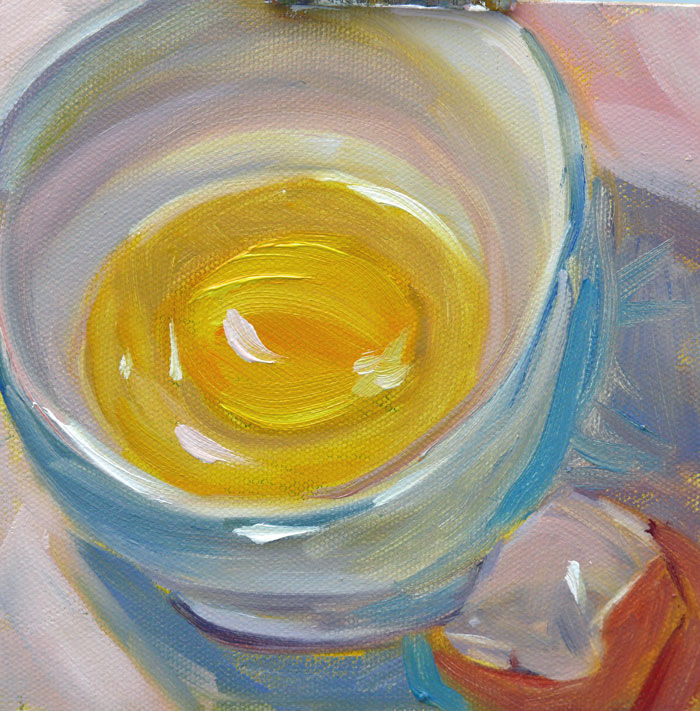 """Egg in a Bowl, oil on canvas board, 6x6"" original fine art by Darlene Young"