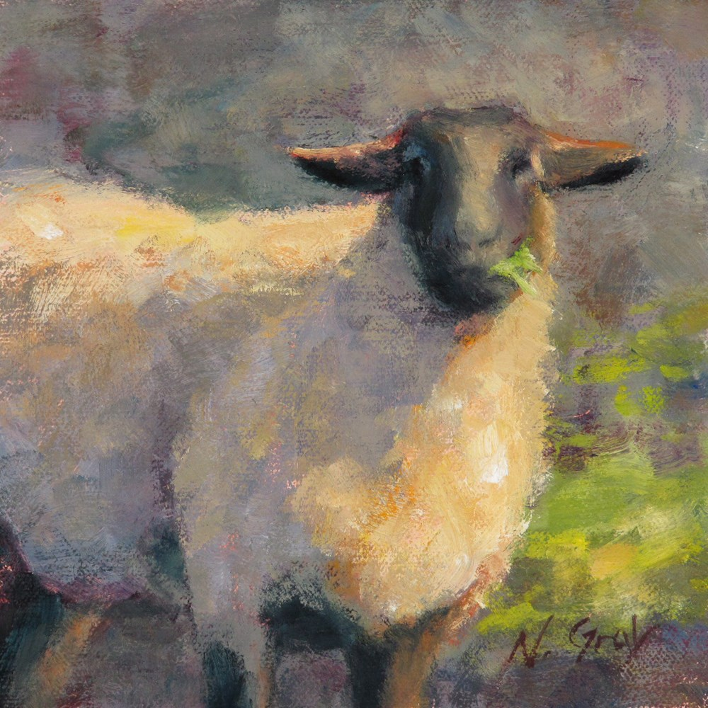 """Breakfast at Sheep Farm"" original fine art by Naomi Gray"