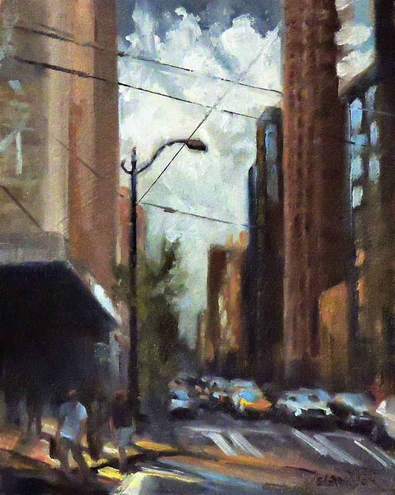 """Cityscape, Original Oil Painting by Diana Delander"" original fine art by Diana Delander"
