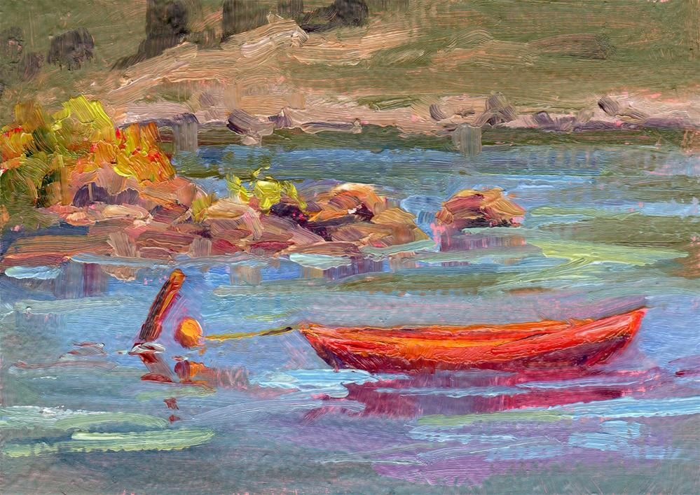 """CANOE WAITING"" original fine art by Karen E Lewis"