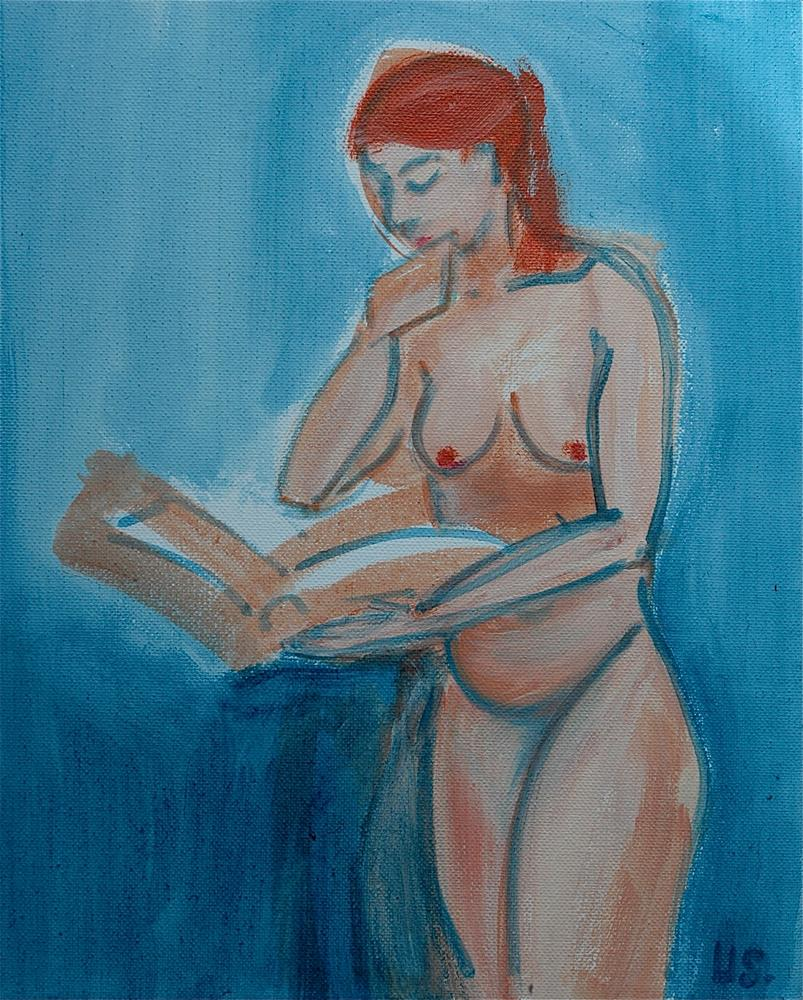 """Reading woman, standing, blue background"" original fine art by Ulrike Schmidt"