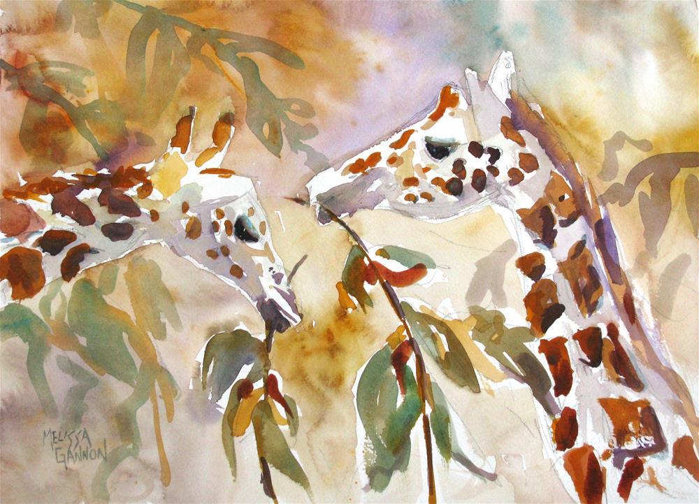 """Giraffes"" original fine art by Melissa Gannon"