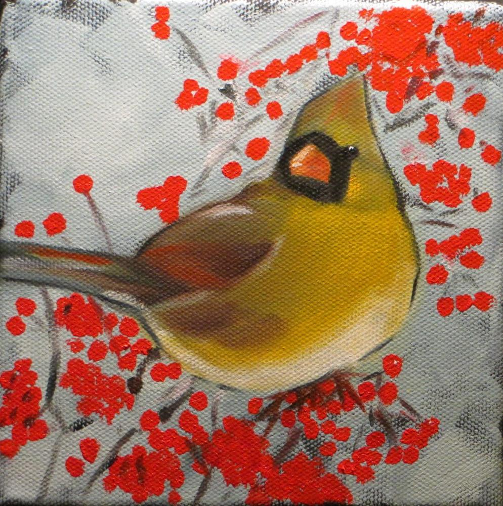 """Female Cardinal"" original fine art by Claire Henning"