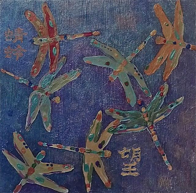 """Outside the Box 8x8 Metallic acrylic paint"" original fine art by Mary Sheehan Winn"