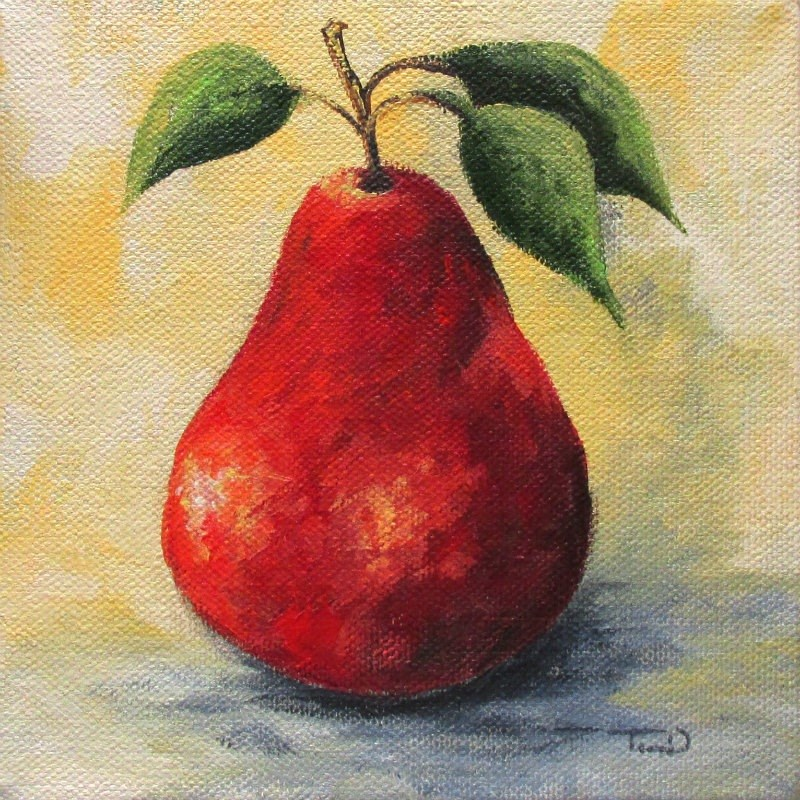 """The Single Red Pear"" original fine art by Torrie Smiley"