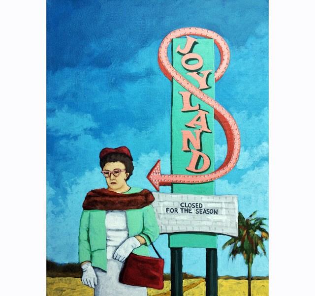 """Joyland - woman on vacation desert landscape vintage sign original fine art"" original fine art by Linda Apple"