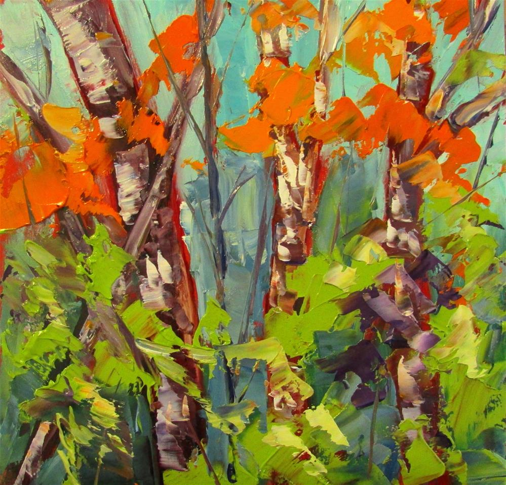 """8 x 8 inch oil Little Birch"" original fine art by Linda Yurgensen"
