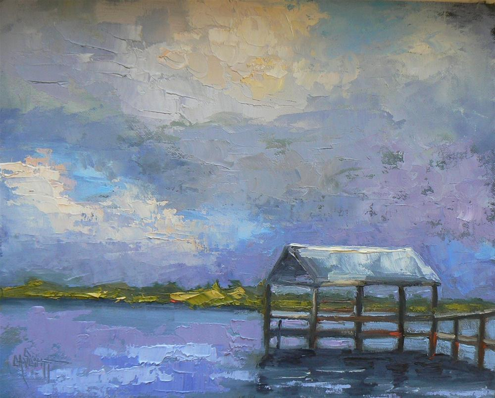 """Daily Painting, Intrecoastal Dock 8x10, Oil"" original fine art by Carol Schiff"