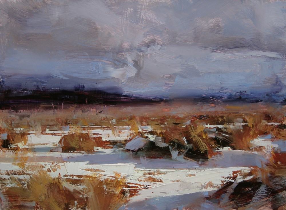 """Golden Winter"" original fine art by Tibor Nagy"