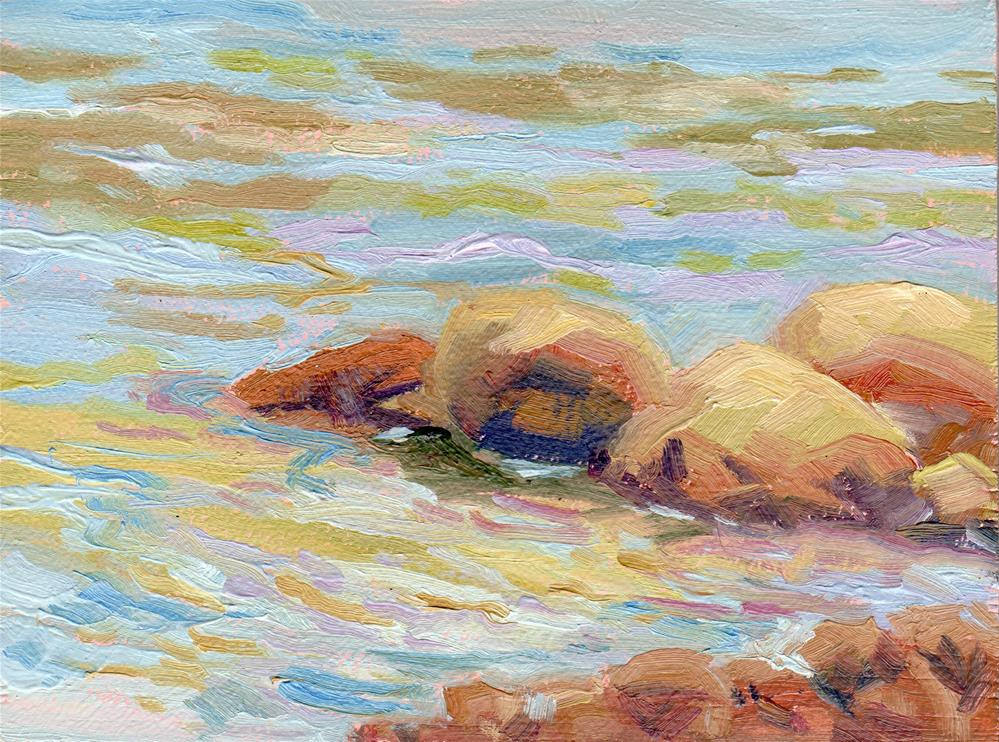 """RIVERSIDE ROCKS"" original fine art by Karen E Lewis"