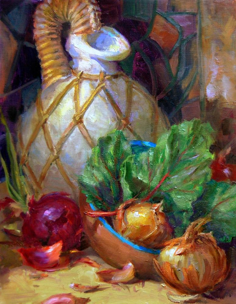 """First Onion Painting"" original fine art by Julie Ford Oliver"