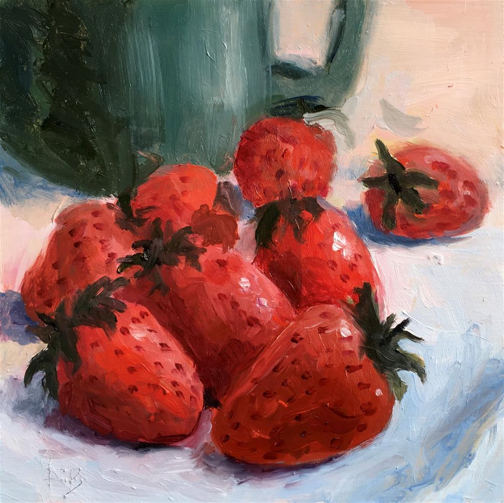 """063 Strawberries, free shipping"" original fine art by Fred Bell"